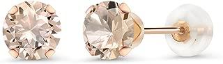10K Rose Gold Peach Morganite Women's Stud Earrings 0.80 Ct Round 5MM