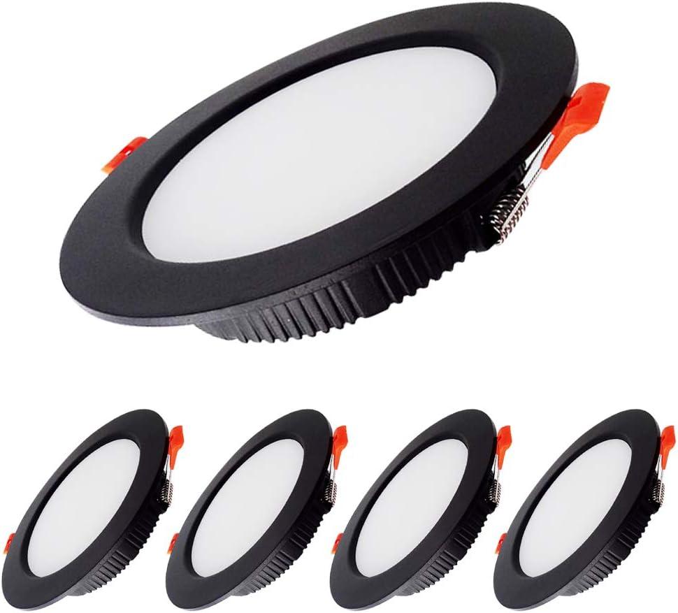 BAGZY 5x Downlight LED 5W Foco empotrable led techo Redondo=50W (500 LM) 4000K (Luz Blanco Natural), IP44,Recorte 70-80mm, AC 220-240V,Foco de Techo Ultraplano para Dormitorio,Baño,Cocina(Negro)