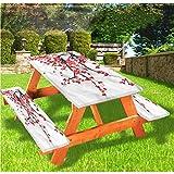 Mantel de mesa y banco de picnic con diseño floral, diseño de flores japonesas con borde elástico, 28 x 72 pulgadas, juego de 3 piezas para camping, comedor, exterior, parque, patio