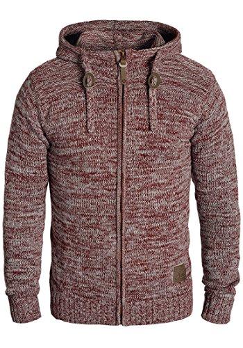 !Solid Pancras Herren Strickjacke Cardigan Grobstrick Winter Pullover mit Kapuze, Größe:XL, Farbe:Wine Red Melange (8985)