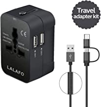All in One International Universal Travel Adapter,Dual USB Charging Ports Converter for USA EU UK AUS European Compatible with Mobile Phone,Power Bank,Tablet,Laptop and Earphone. (201- Black+Cable)