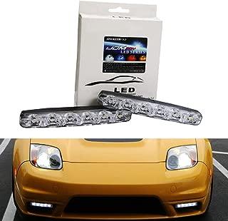 iJDMTOY (2) Universal Fit 6000K Cool White 6-LED Daytime Running Lights For Cars, Trucks, etc