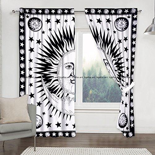Sophia-Art Sun Moon Tye Dye Mandala Window Curtains Indian Drape Balcony Room Decor Curtain Boho Set Urban Large Tapestry Window Dorm Curtains Drapes Valances (Weiß)