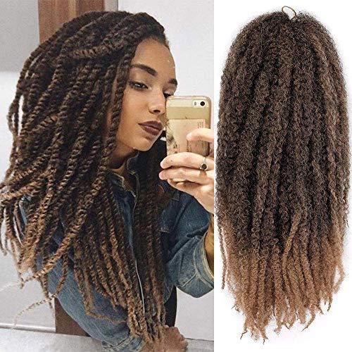 AISI BEAUTY Kinky Twist Braiding Hair 3 Packs Ombre Marley Twists Braiding Hair Synthetic Kinky Twist Hair Extension for Women (18'' T1B-27)