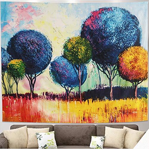 Impresionista paisaje pinturas al óleo tapiz de árbol tapiz de país paisaje colgante tapiz psicodélico de acuarela para dormitorio sala de estar dormitorio decoración de pared tapiz artístico (L)