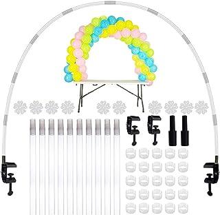 JNCH Kit Arco Globos Soporte de Mesa Table Balloons Arch Frame Arco de Globos Estructura para Decoración Cumpleaños Fiesta Baby Shower Bautizo Boda Accesorios Todo Incluído (Kit Cristal)