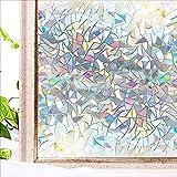 Película para Ventanas de privacidad con Efecto arcoíris, Adhesivo de Vidrio electrostático, Adecuado para baño, Cocina, Sala de Estar, Estudio H 40x300cm