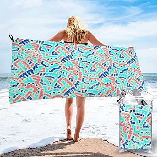 LYYNBLA - Asciugamano da spiaggia in microfibra, 80 x 160 cm, super assorbente e ad asciugatura rapida