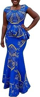 VERWIN African Dress Cap Sleeve Square Neck Floor-Length Geometric Mermaid Maxi Dress Long Dress
