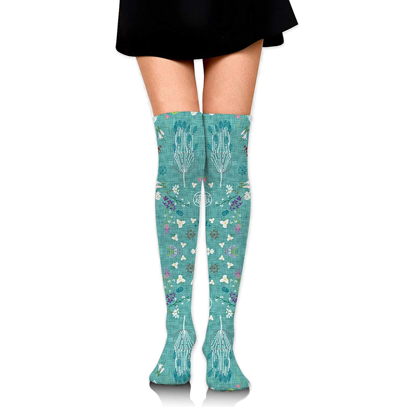 XiuGengg Wildflower Dreams (Teal Linen) Compression Socks Thigh High Socks Over The Knee Socks for Men Women Supports Athletic Running Cycling Football Travel Medical Nursing ubebhresspu321