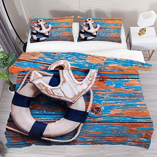 SENNSEE Juego de funda de edredón de 3 piezas con diseño de ancla de playa de 264,2 x 228,6 cm, funda de edredón y 2 fundas de almohada de poliéster.