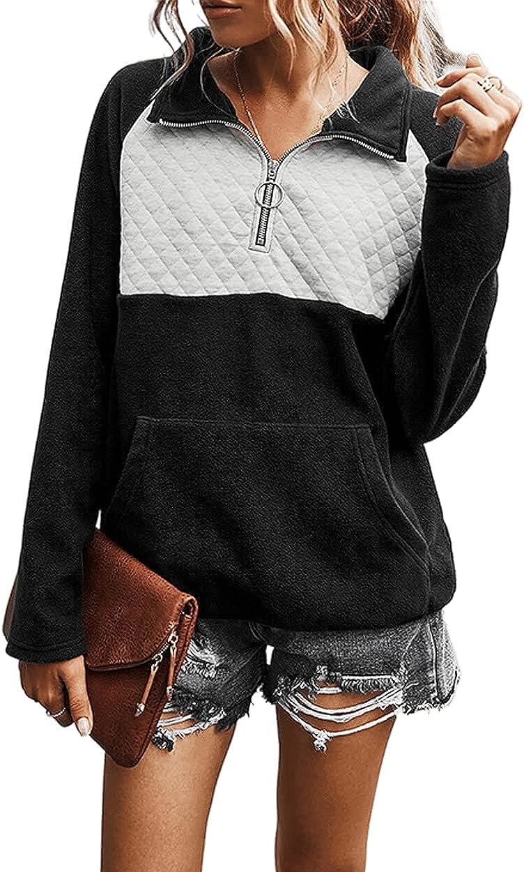 Bengbobar Women's Casual crewneck Long Sleeve Lapel Zipper Sweatshirt Drawstring Loose Pullover Tops With Pockets