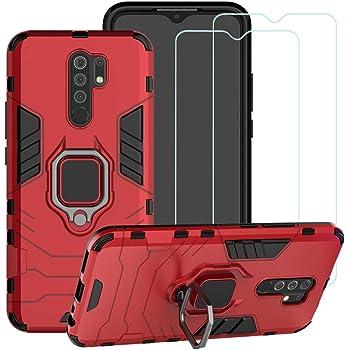 """BestMX Funda para Xiaomi Redmi 9 6.53"""" Case 2 pcs Protector de Pantalla de Cristal Templado, Híbrida Rugged Armor Choque Absorción Protección Dual Layer Bumper Carcasa con Pie De Apoyo, Rojo"""