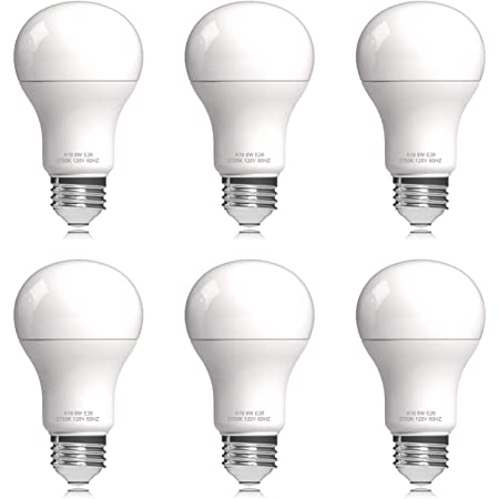Helloify A19 LED Light Bulb, 9W (60W Equivalent), 806 Lumens, 2700K Soft White, Energy Saving Lamp for Office/Home, Non-dimmable, E26 Screw Base, 6 Count