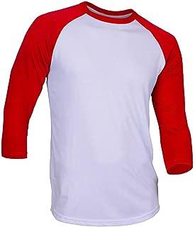 Hat and Beyond Mens Raglan 3/4 Sleeves T Shirts Slim Fit Plain Baseball Jersey