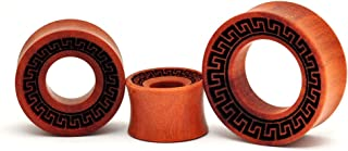 Laser Engraved Saba Wood Aztec Tunnels (PW-242) - Sold as a Pair
