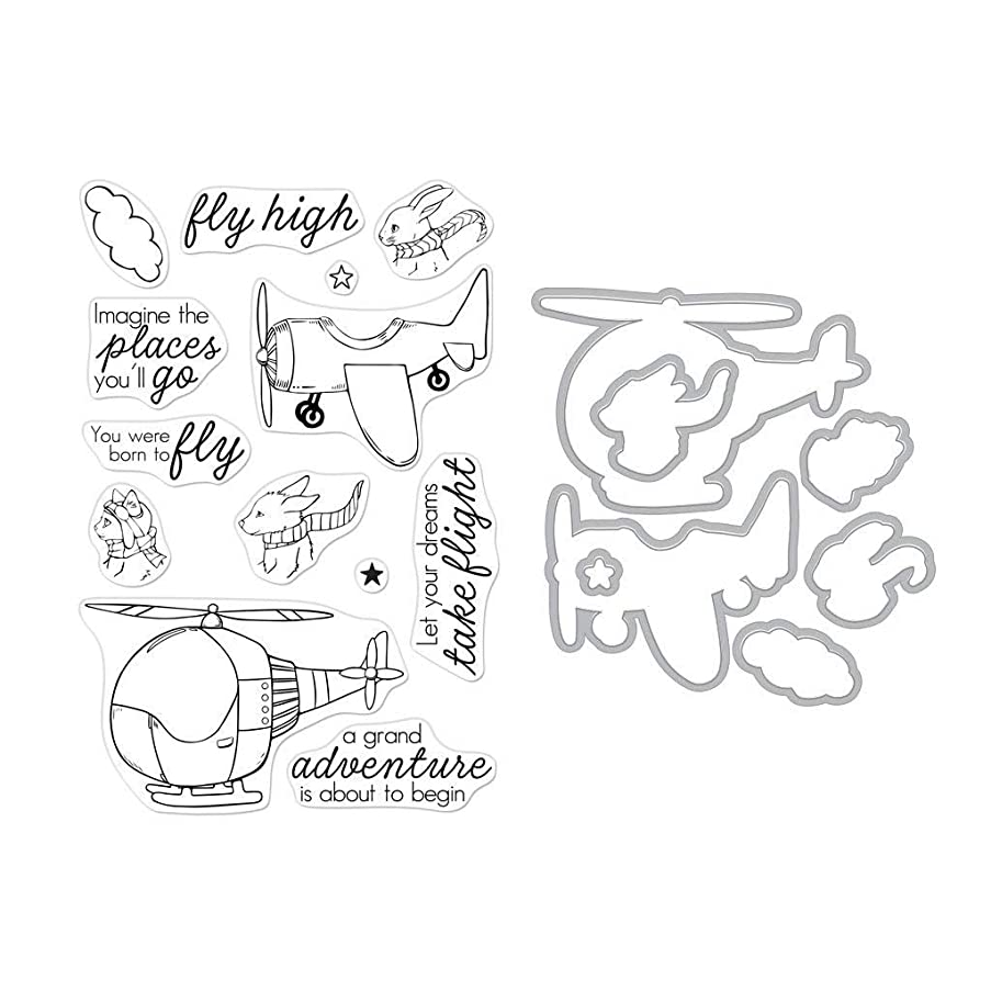 Hero Arts SB225 Stamp and Frame Cuts Combo Set, Fly High Animals