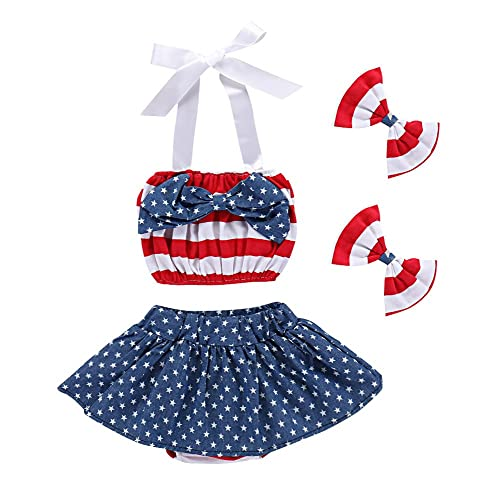 175ef3466 Saeaby July 4th American Flag Romper Dress Striped Stars Print Patriotic  Bodysuit Outfit for Baby Girls