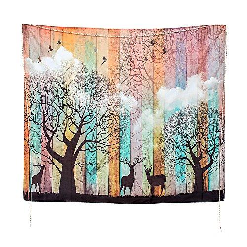 Tapiz de Pared con Diseño de Elk Forest Tapiz Psychedelic Bosque con Pájaros, tapices Coloridos, tapices Profundos en el Alma para Dormitorio, Sala de Estar, Dormitorio, Tapiz para Colgar en la Pared