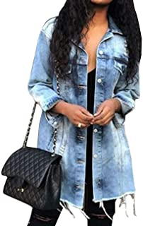 SOMTHRON Womens Oversized Distressed Denim Jeans Outfits Coat Spring Fall Ripped Jeans Outerwear Denim Jacket Plus