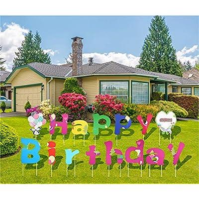 JILLSKY Happy Birthday Yard Signs with Stakes C...