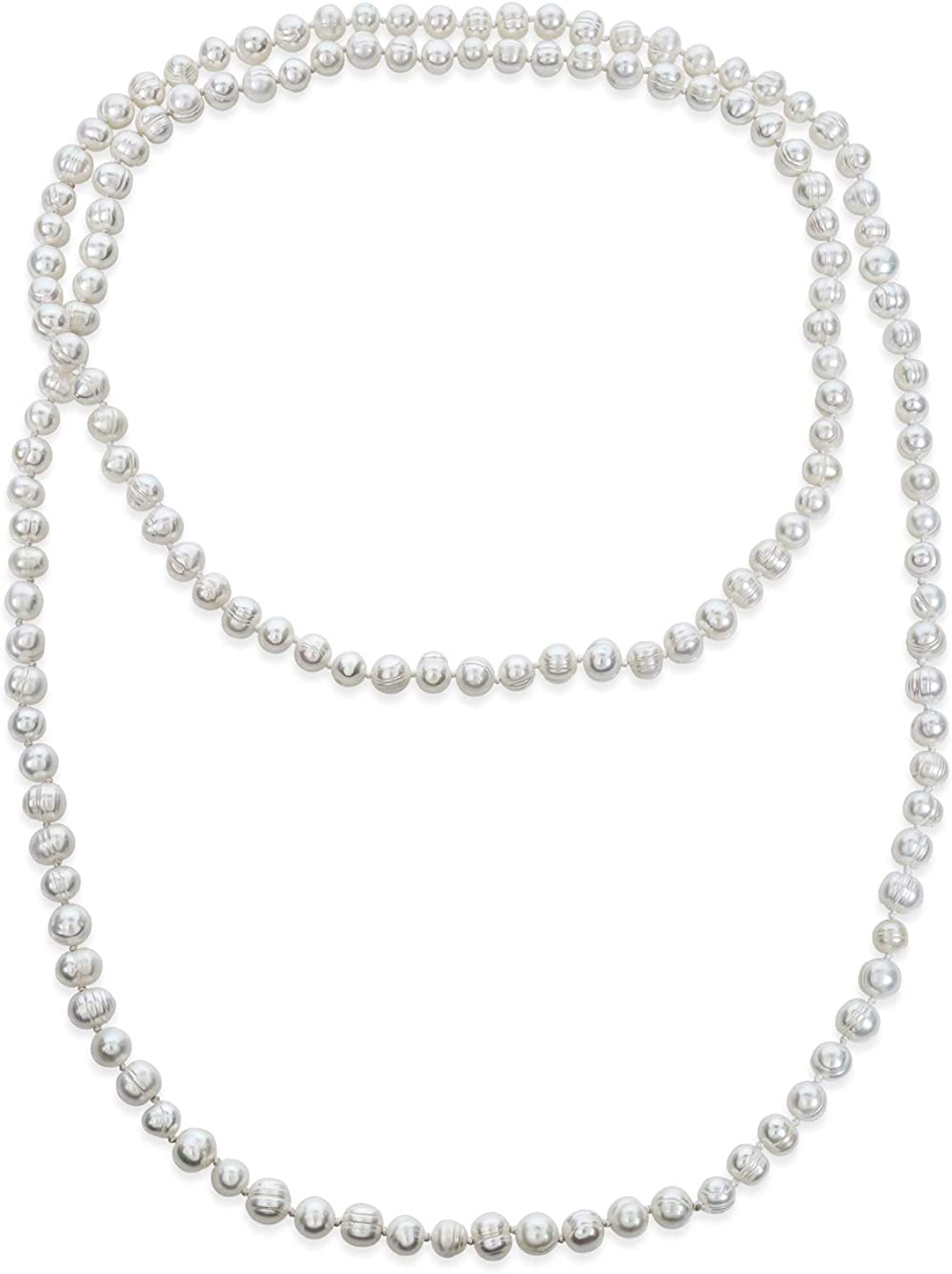 Bling Jewelry Round Endless Warp Layer Long Hand Knotted White Freshwater Cultured Pearl Rope Strand Necklace for Women 36 52 80 Inch
