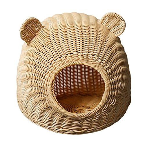 YNZYOG Cat Bed/House Round Ears de Chien PP Résine Rattan Pure Hand Weaving Couleur Primaire Marron 2 Tailles à Choisir (Couleur : Couleur Primaire, Taille : 48*32cm)
