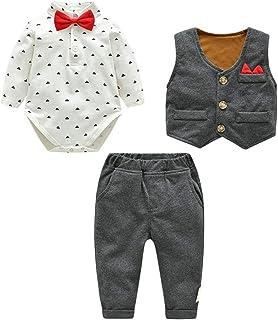 Fairy Baby Boys Outfit Newborn 3pcs Clothes Set Formal Bowtie Bodysuit+Waistcoat+Pant Set