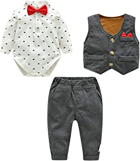 Fairy Baby Boys Outfit Newborn 3pcs Clothes Set Formal Bowtie Bodysuit+Waistcoat+Pant Set