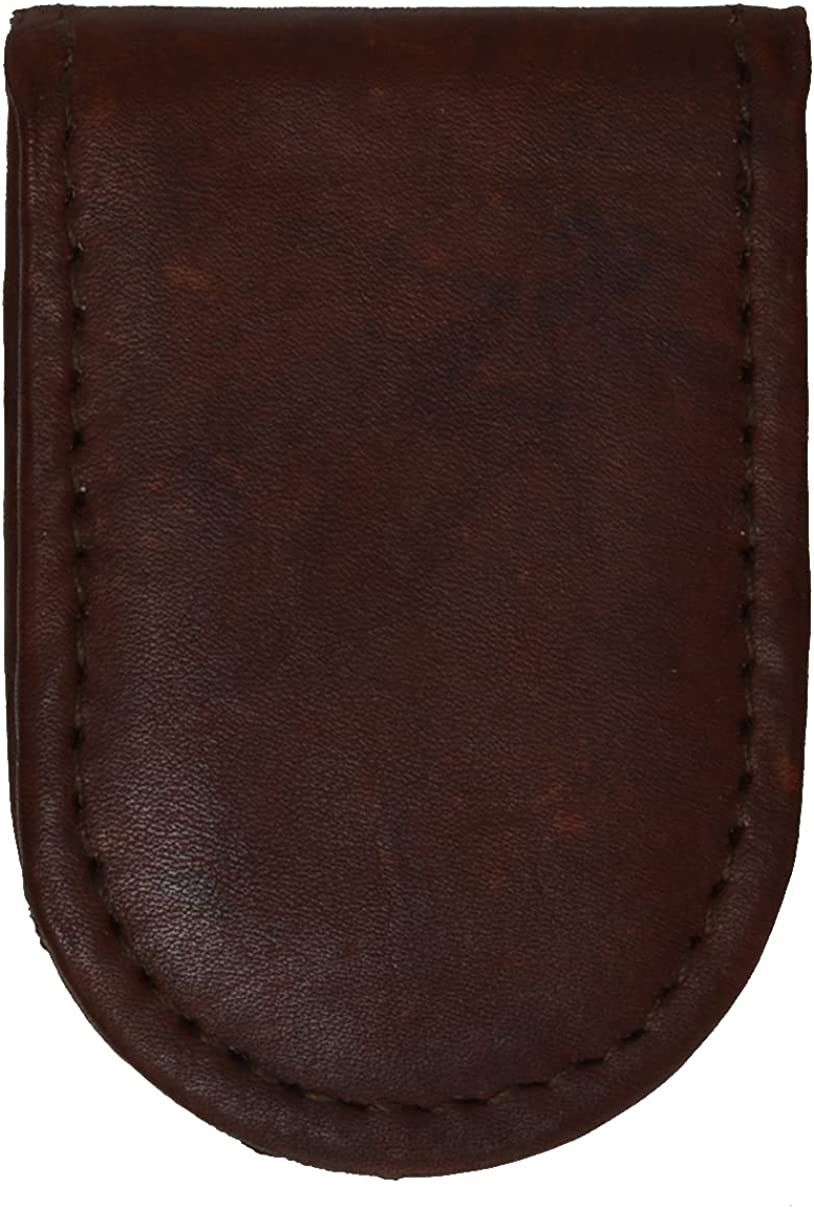 Slim Magnetic Genuine Leather Money Clip Brown Wallet