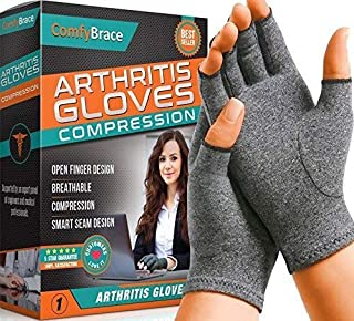 Comfy Brace Arthritis Hand Compression Gloves � Comfy Fit, Fingerless Design, Breathable & Moisture Wicking Fabric � Alleviate Rheumatoid Pains, Ease Muscle Tension, Relieve Carpal Tunnel Aches(Large)