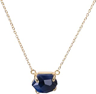 KELITCH Mujeres 18k Chapado en Oro Arándano Azul Cristal Piedra Preciosa Colgante Collar