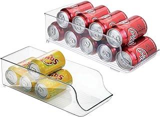 mDesign bac Alimentaire pour réfrigérateur ou Placard de Cuisine (Lot de 2) – bac de Rangement en Plastique pour jusqu'à 9...