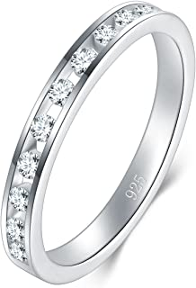 BORUO 2MM 925 Sterling Silver Ring, Cubic Zirconia CZ Wedding Band Stackable Ring