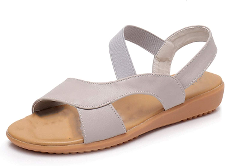 TZJY-Store Leather Genuine Women's Flat Heel Sandals Fashion Women's Summer shoes Sandals