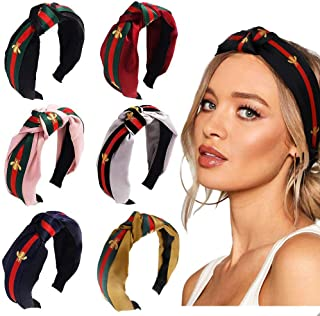 Women Headbands Head Hair Bands - (6 Packs) with Bee Embroidery and Stripe, Wide Knot Hairband for Women's Hair, Fashion Hair Accessories