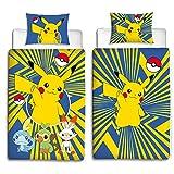 Juego de ropa de cama de Beronage, diseño de Pokémon, reversible, 135 x 200 cm y 80 x 80...
