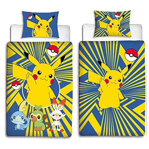 BERONAGE Linon Kinder Wende-Bettwäsche Pokémon Motiv Go Pikatchu Neu & Ovp Renforcé - 135 x 200cm + 80 x 80cm - 100% Baumwolle - Pokemon Kinerbettwäsche - deutsche Standardgröße - 2 Vollmotive