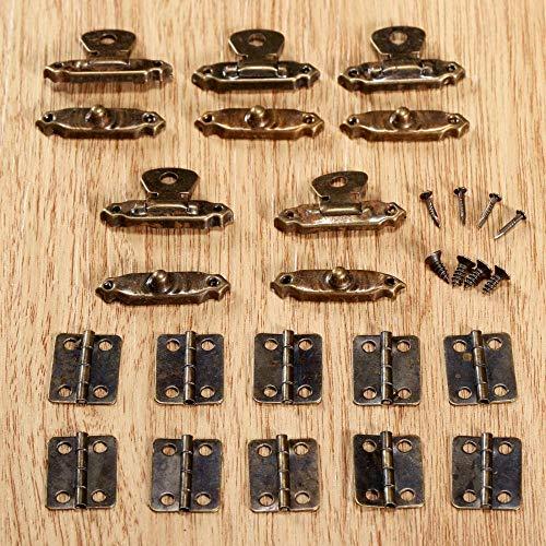 Dice 10 Stück antike Bronze MöbelSchrank Scharniere + 5 Stück Schmuck Holzkiste CaseToggle Hasp Latch Eisen Vintage Hardware