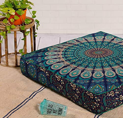 """Popular Handicrafts Indian Hippie Mandala Floor Pillow Cover Square Ottoman Pouf Cover Daybed Oversized Cotton Cushion Cover with Heavy Duty Zipper Seating Ottoman Poufs Dog-Pets Bed 35"""" Tarqouish"""