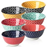 dowan cereal bowls, 23 ounce colorful porcelain bowls set for soup, pasta, salad, rice, set of 6