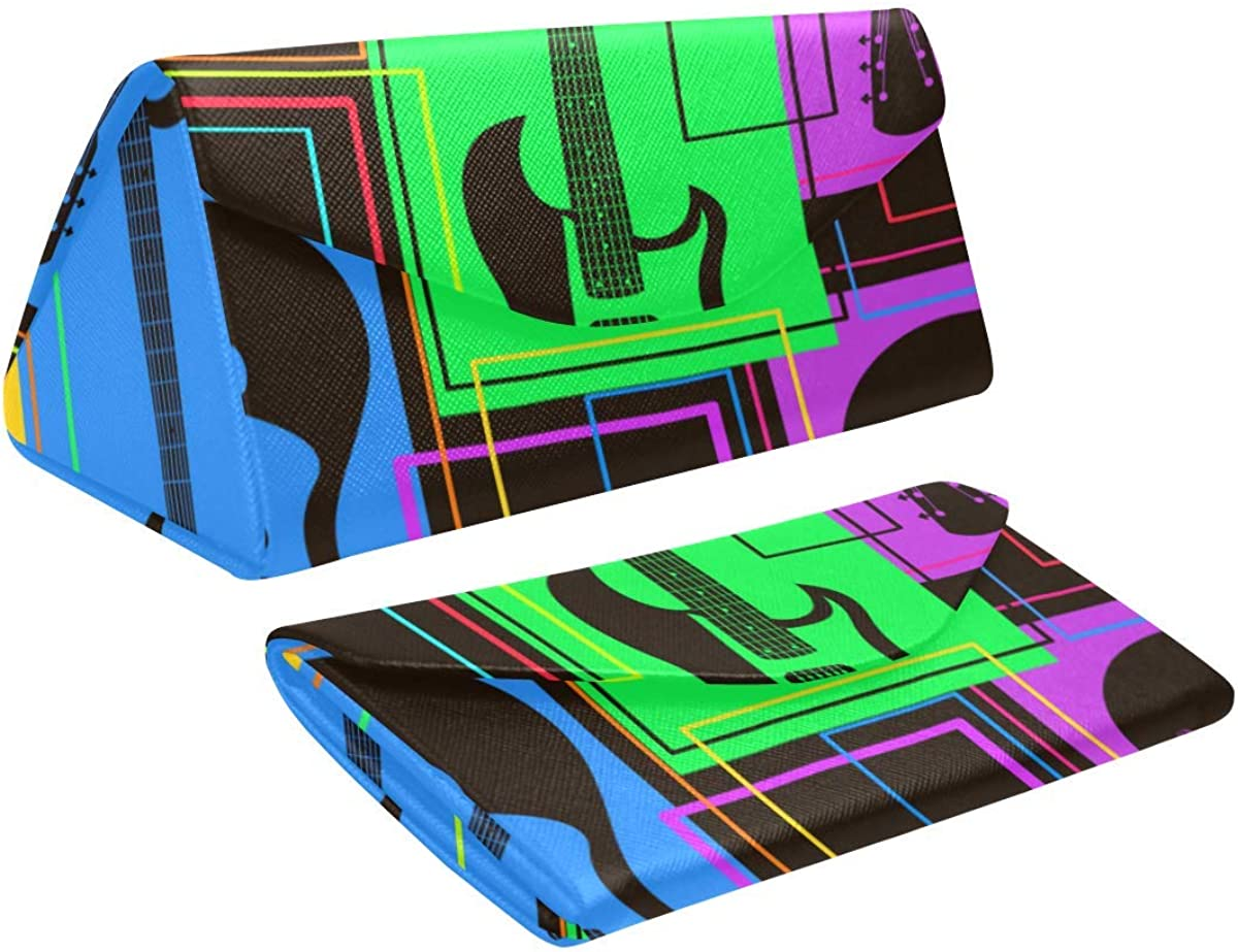 Glasses Case Abstract Colorful Guitars Eyeglass Case Leather Magnetic Folding Hard Case Sunglasses Eyewear Protective Case