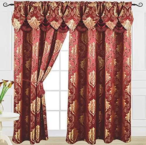 Venice Collections Luxury Jacquard Curtain Panel with Attached Waterfall Valance, 54 by 84-Inch Angelina Burgundy
