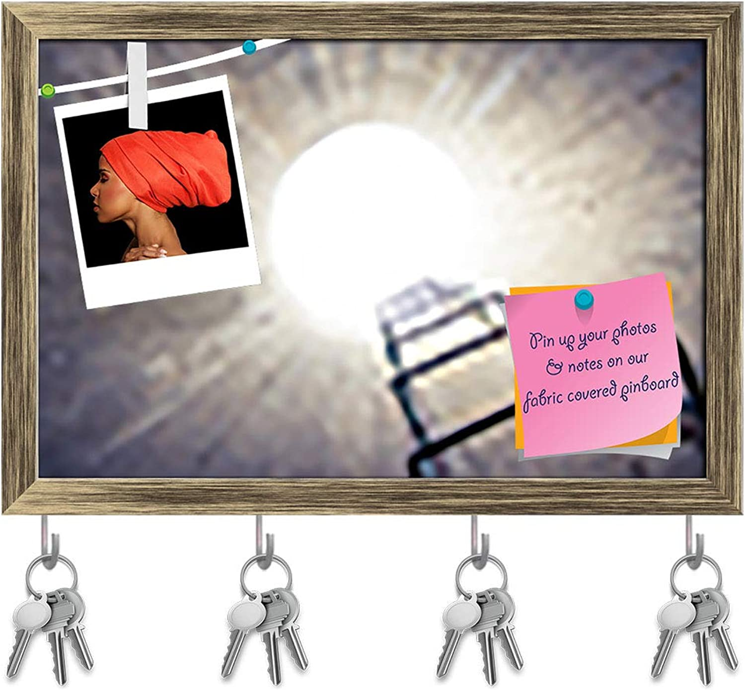 Artzfolio Light at The End of The Tunnel Key Holder Hooks   Notice Pin Board   Antique golden Frame 17.6 X 12Inch