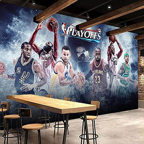 Living Equipment Imagen de pared Decoración Papel tapiz Foto Efecto 3D Lienzo Arte de la pared Sala de estar Dormitorio Cafetería Bar Fondo de TV Calcomanías de pared Mural-NBA Star Basketball 1 (4