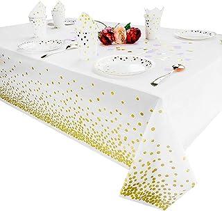 Nappes en plastique pour les tables de rectangle, couvertures de table jetables de nappes de table de fête pour l'annivers...