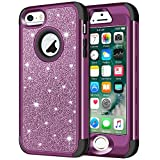 iPhone SE Case, iPhone 5S Case, iPhone 5 Case, Anuck 3 in 1 Hybrid Shockproof Protective Case for Girls Cute Bling Sparkly Glitter Heavy Duty Armor Defender Cover for Apple iPhone 5/5S/SE - Purple