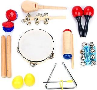 Boxiki kids Musical Instrument Set 16 PCS | Rhythm & Music Education Toys for Kids | Clave Sticks, Shakers, Tambourine, Wr...