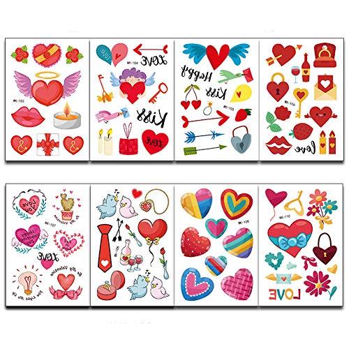 ED-Lumos Tatouage Temporaires pour Enfant 8 feuilles Tattoos Étanche Tatouages éphémères Autocollants Tatouage Cœurs
