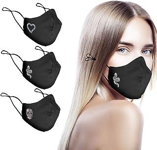 CHIC&LOVE - Banda Facial Reutilizable Negra para Mujer con Diseño Original de Cristales de Colores | Banda Facial Negra Es...